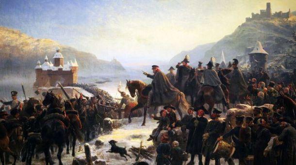Les troupes de Blücher traversent le Rhin, 1813